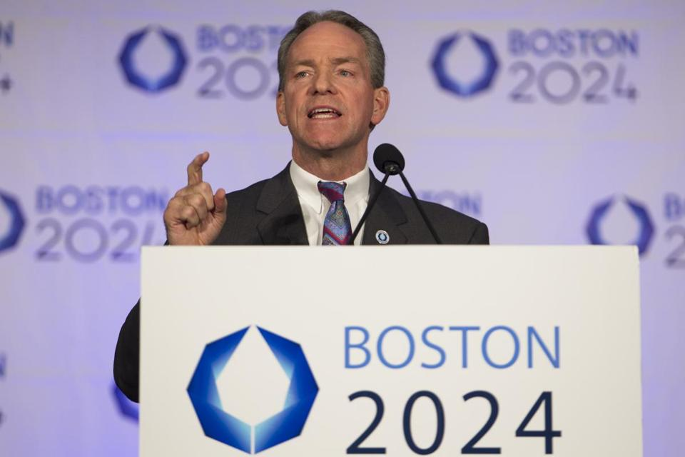 John Fish, CEO of Suffolk Construction and chairman of Boston 2024, spoke at Wednesday's public hearing.