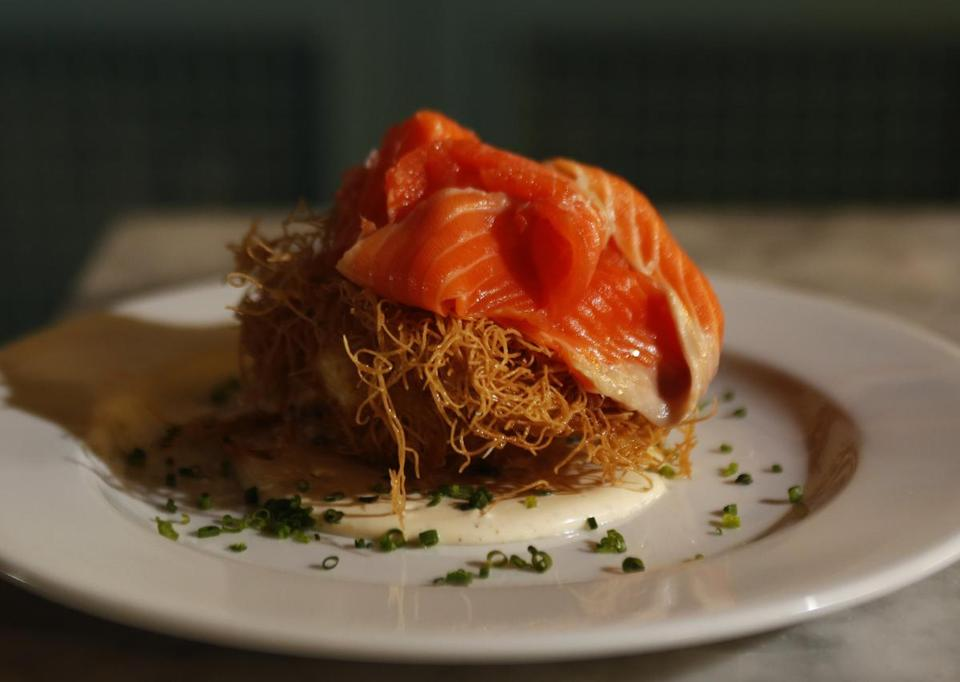 Cold-smoked salmon on a nest of fried phyllo at Hommage.