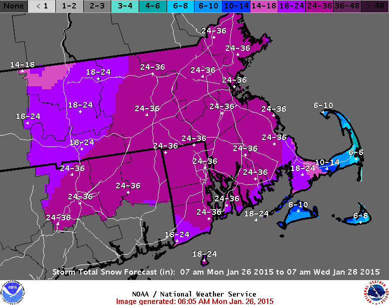 A forecast of the amount of snow expected in the region.