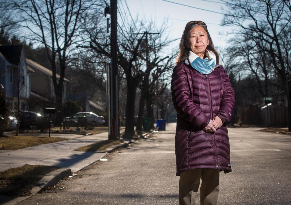 01/23/2015 NEWTON, MA City Alderman Amy Sangiolo (cq) poses for a photo on Spiers Road (cq) in Newton. She is looking closely at all the recent teardown in the neighborhood. (Aram Boghosian for The Boston Globe)