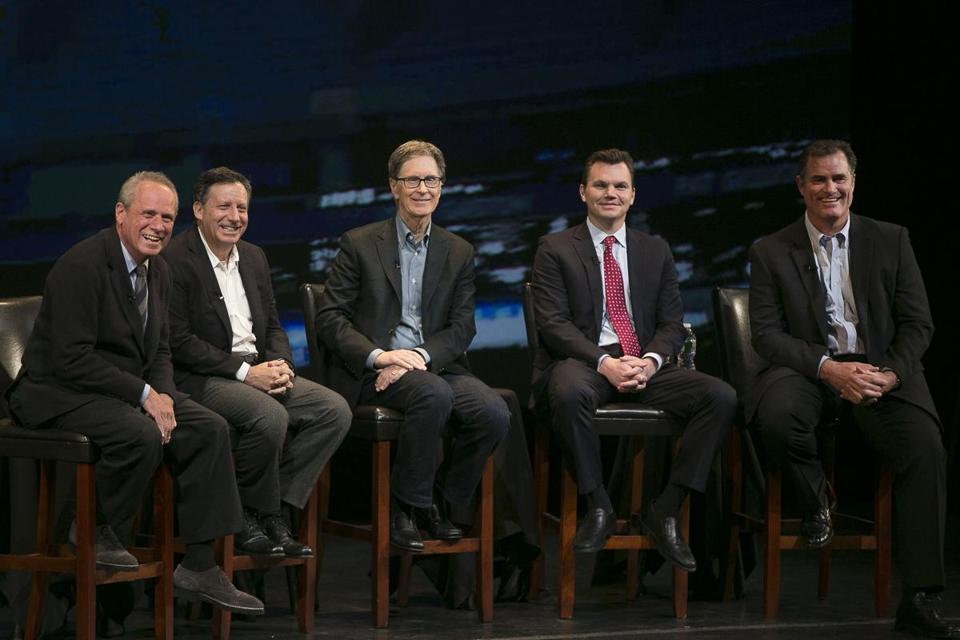 January 23, 2015, Ledyard, Connecticut: Boston Red Sox President & CEO Larry Lucchino, Chairman Tom Werner, Principal Owner John Henry, General Manager Ben Cherington, and Manager John Farrell speak at the fifth annual NESN Town Hall during the Red Sox Winter Weekend at Foxwoods Resort and Casino in Ledyard, Connecticut Friday, January 23, 2015. (Photo by Billie Weiss/Boston Red Sox)