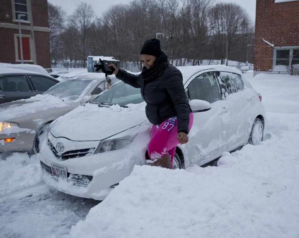 DeKayla Graham, a home health care worker, made sure her car was dug out so she could respond in case of an emergency.