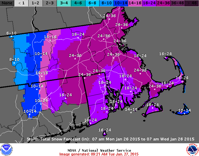 Map Shows Expected Snowfall In Upcoming Storm The Boston Globe - Snowfall totals massachusetts