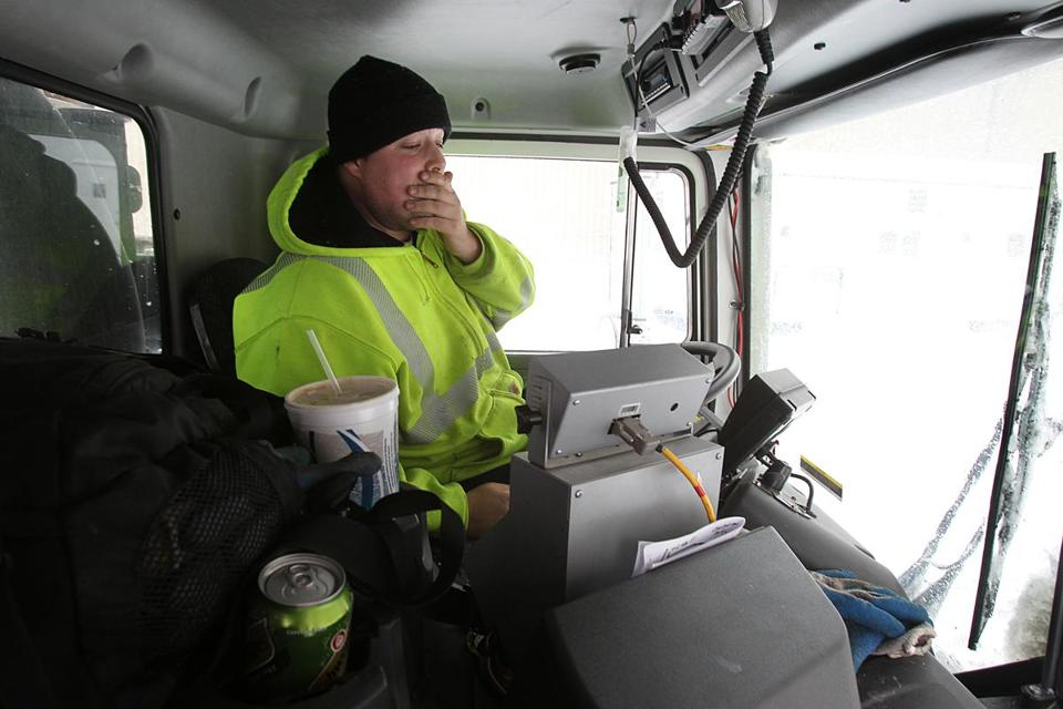 George Flaherty, who said he had slept only four hours since Monday, took nearly two hours to plow an 11-mile stretch of Commonwealth Avenue from the Back Bay to Newton.