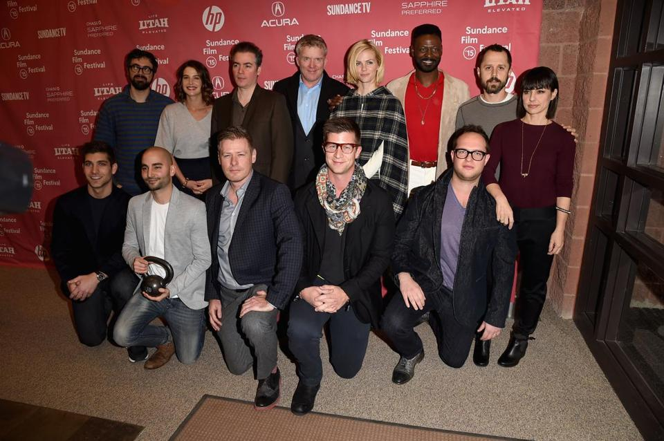Back row (from left): Andrew Bujalski, Cobie Smulders, Kevin Corrigan, Anthony Michael Hall, Brooklyn Decker, Tishuan Scott, Giovanni Ribisi, and Constance Zimmer. Front row (from left): David Bernon, Sev Ohanian, Greg Stewart, Paul Bernon, and Sam Slater.