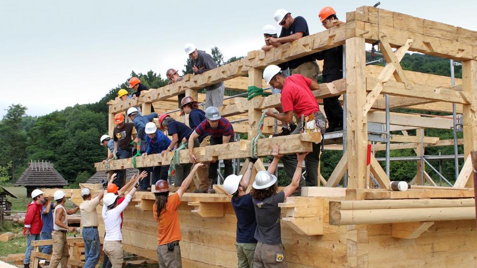 Students and framers raise a hand-hewn timber into place on a sidewall of the Gwozdziec synagogue.