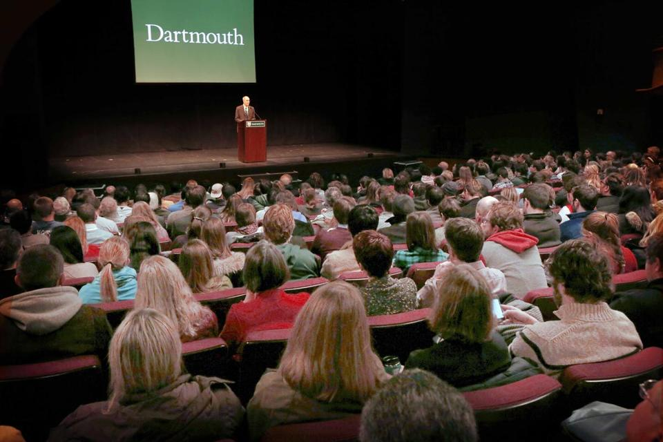 Dartmouth College President Philip Hanlon spoke to faculty and students about changes for the New Hampshire school, including a ban on hard liquor.