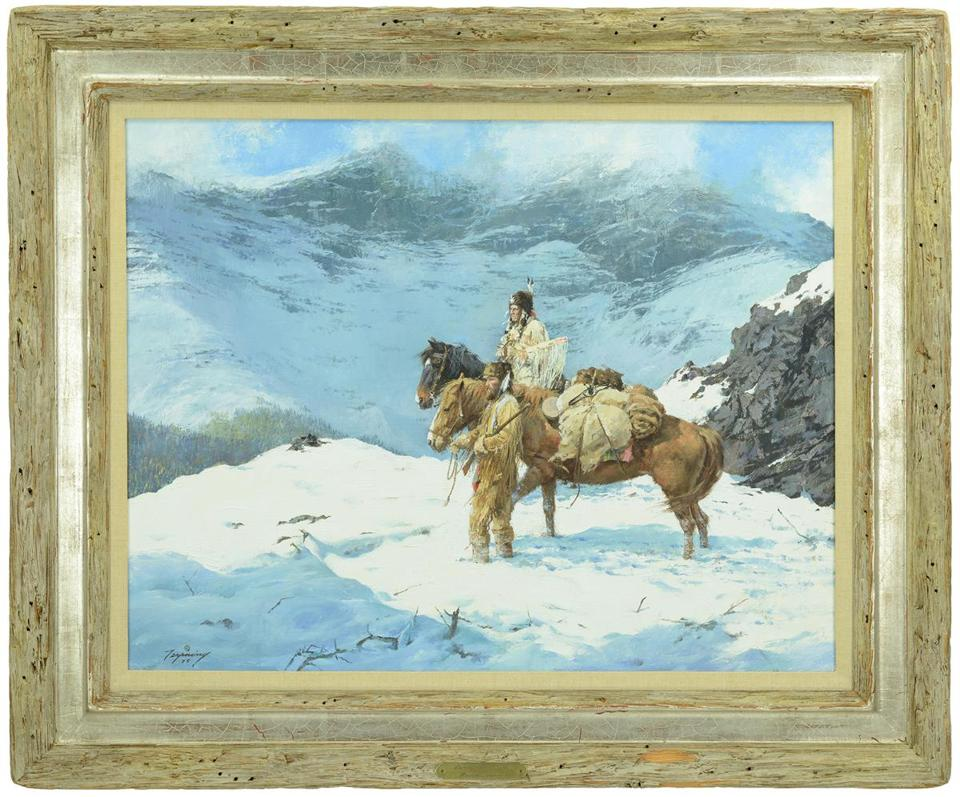 """Spring Came Early'' by Howard A. Terpning, known as ""the storyteller of the Native American,"" will be offered with a $175,000-$275,000 estimate at James D. Julia's Fine Art, Asian & Antiques Auction. The 1975 oil painting is housed in a barn board-style frame with a plaque inscribed to the late arms collector and dealer Norman Flayderman."