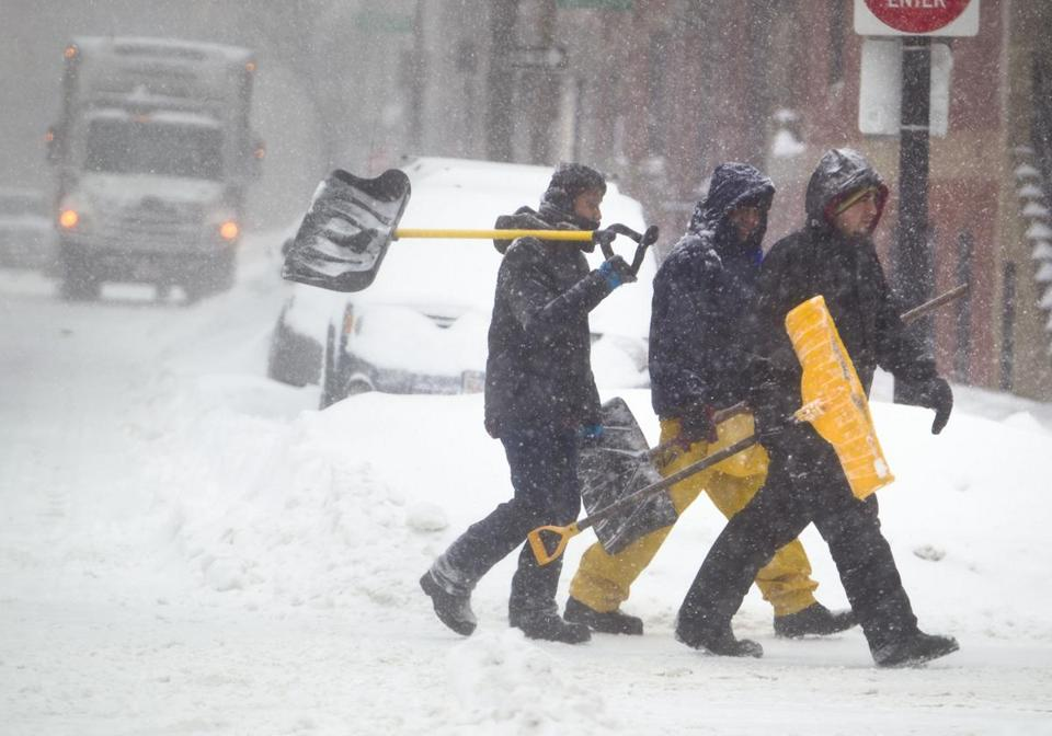 Boston was very difficult to navigate for motorists and pedestrians alike on Monday morning.