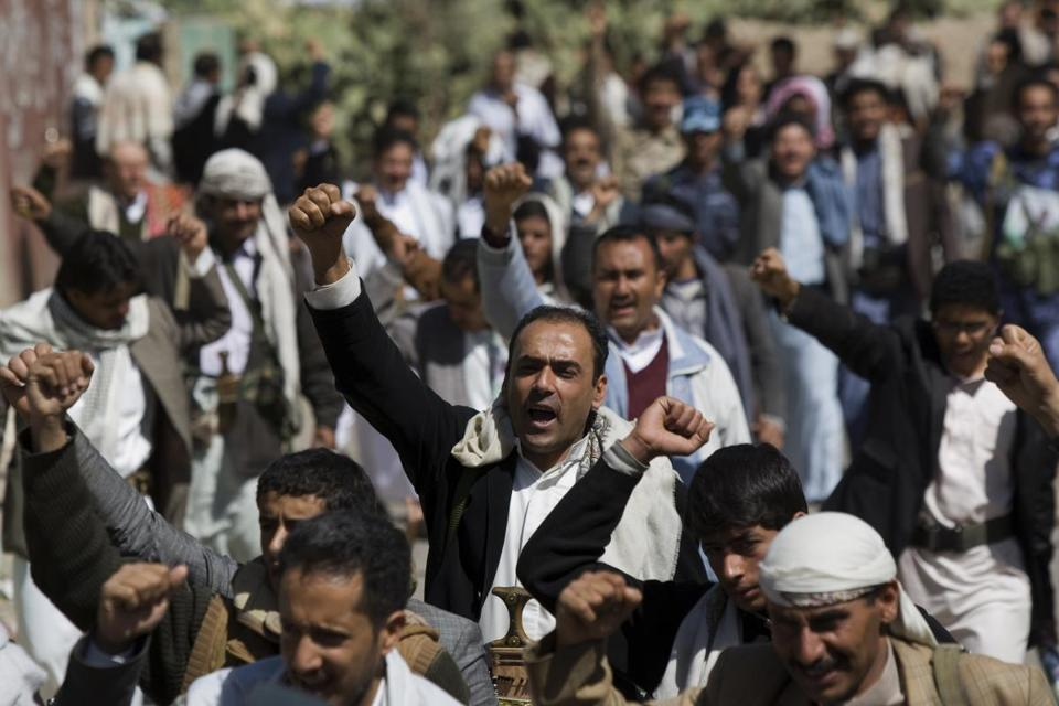 Members of the Houthi movement in Yemen chanted slogans during a funeral procession last month for comrades killed during clashes with presidential forces in Sana.