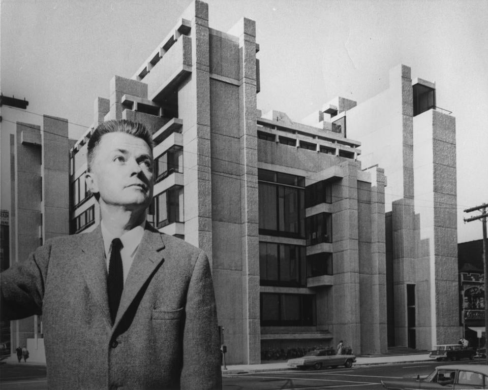 Paul Rudolph stood before the Yale University arts complex, circa 1963.