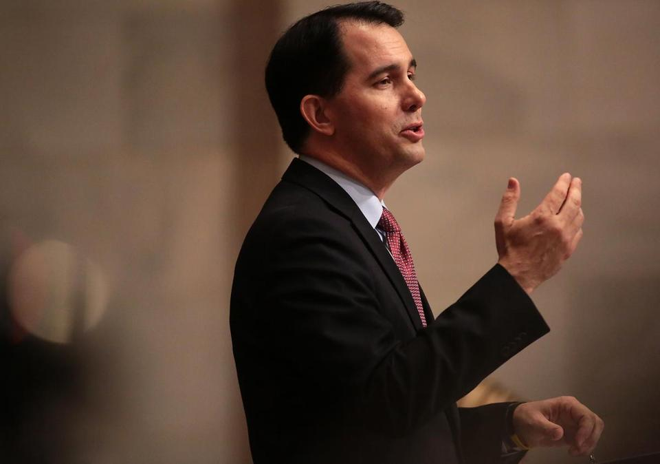 Wisconsin Governor Scott Walker delivered his state budget address at the  Wisconsin state Capitol in Madison