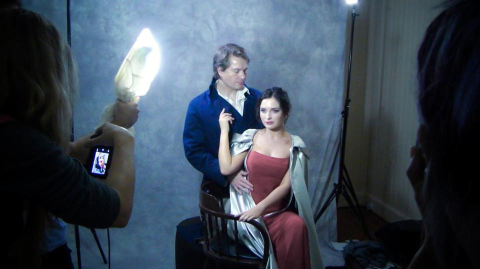 "A photo shoot for a cover image of a romance novel in Laurie Kahn's documentary ""Love Between the Covers."""