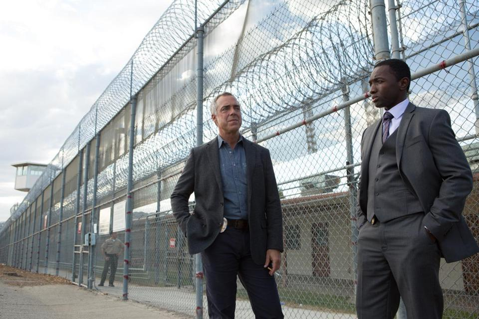 "Titus Welliver (left) and  Jamie Hector in cop show ""Bosch,"" streaming"