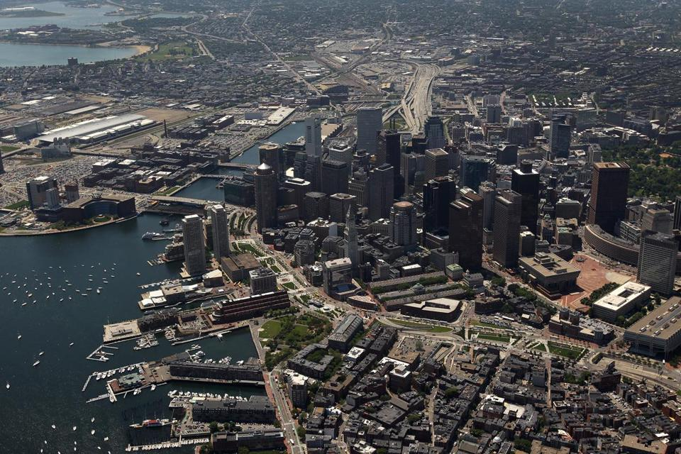 An aerial view of Boston.