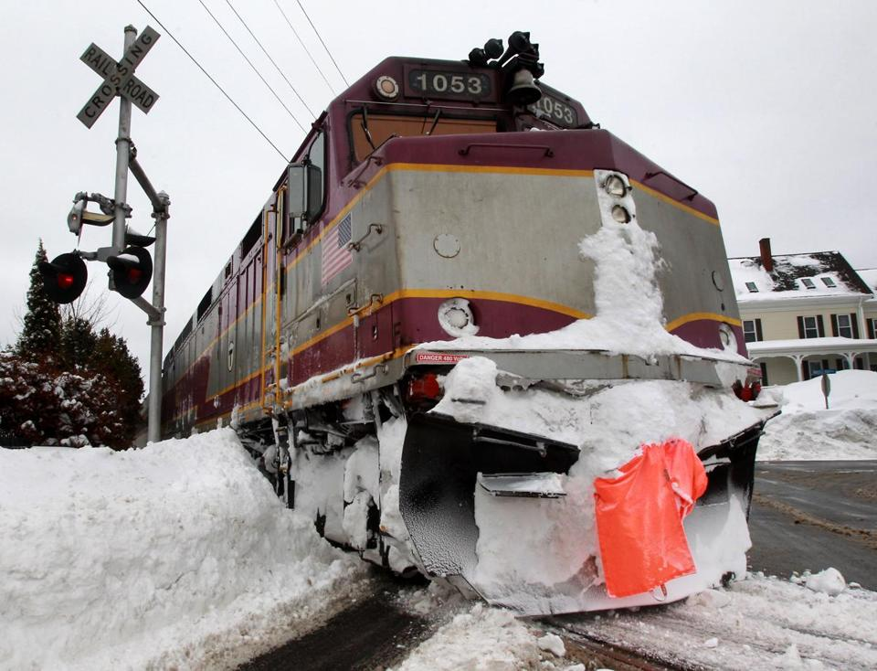 A commuter train was used as a plow to clear the tracks on the Rockport line last month in Gloucester.
