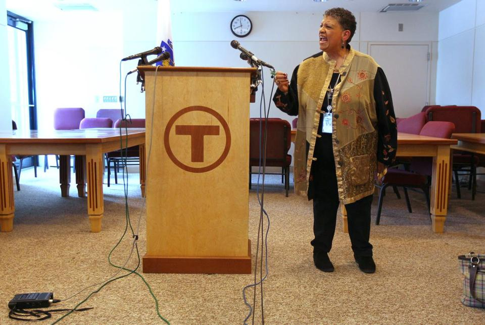 Beverly Scott, general manager of the MBTA, was often fiery in her response to questions about T operations and her performance Tuesday.