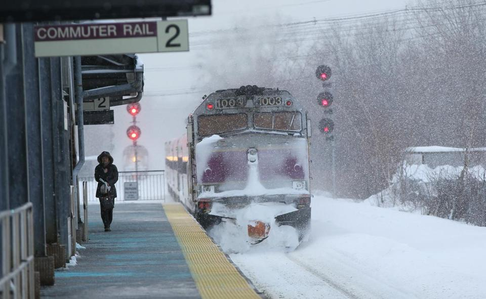A commuter train waits at Anderson Regional Transportation center in Woburn.