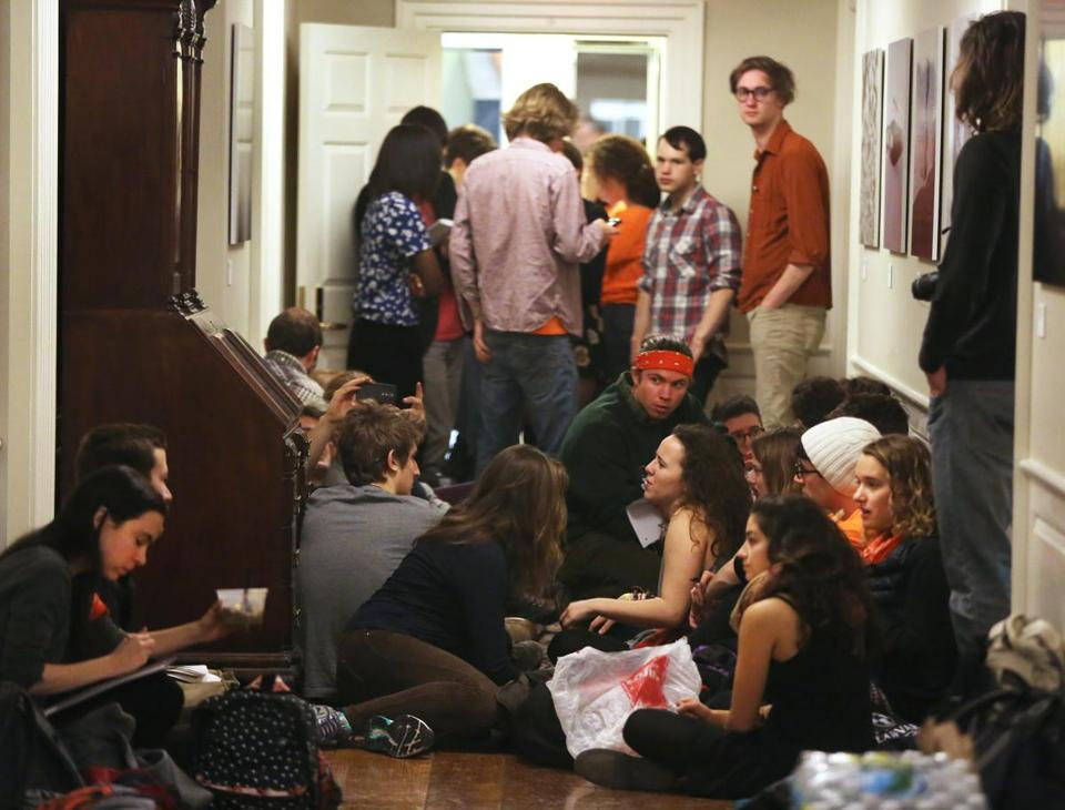 Harvard students staged a sit-in in February at Massachusetts Hall to protest the school's decision not to divest from fossil fuels.