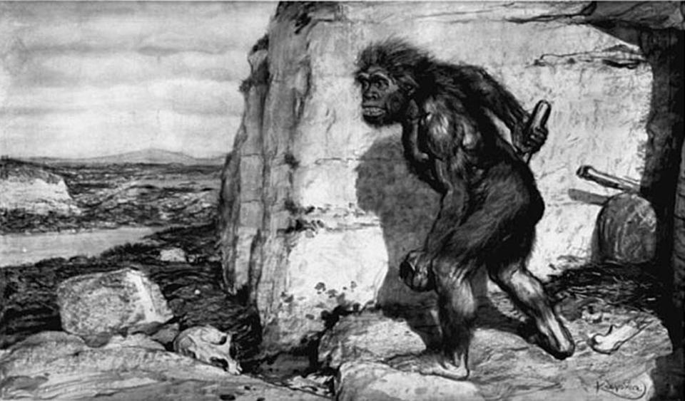 Not just apes: Older conceptions of Neanderthals assumed they were much more primitive than humans. This reconstruction by Frantisek Kupka, with aid from paleontologist Marcellin Boule, appeared in The Illustrated London News in 1909.