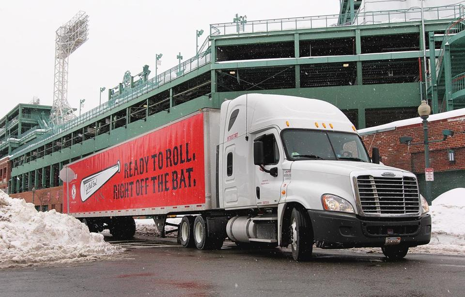 Boston, MA 021215 Red Sox equipment truck leaves for Florida, Thursday, February 12 2015. (Wendy Maeda/Globe Staff) section: Sports slug: Red Sox reporter: