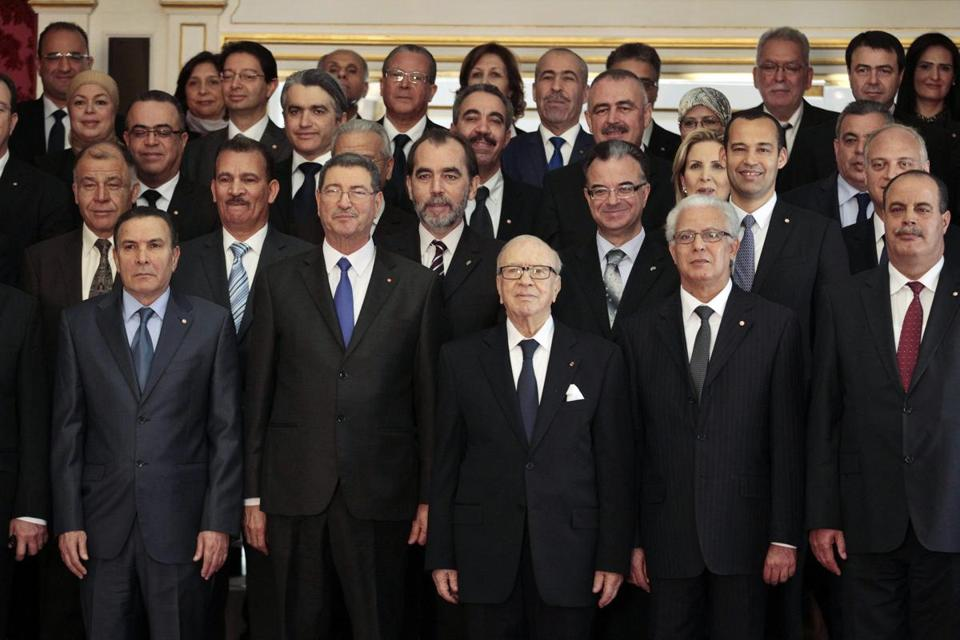 Tunisian officials posed for a photograph during the new government's swearing-in ceremony earlier this month.