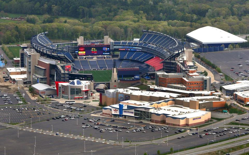 An aerial view of Patriot Place and Gillette Stadium. Boston Globe staff photo by John Tlumacki (metro)