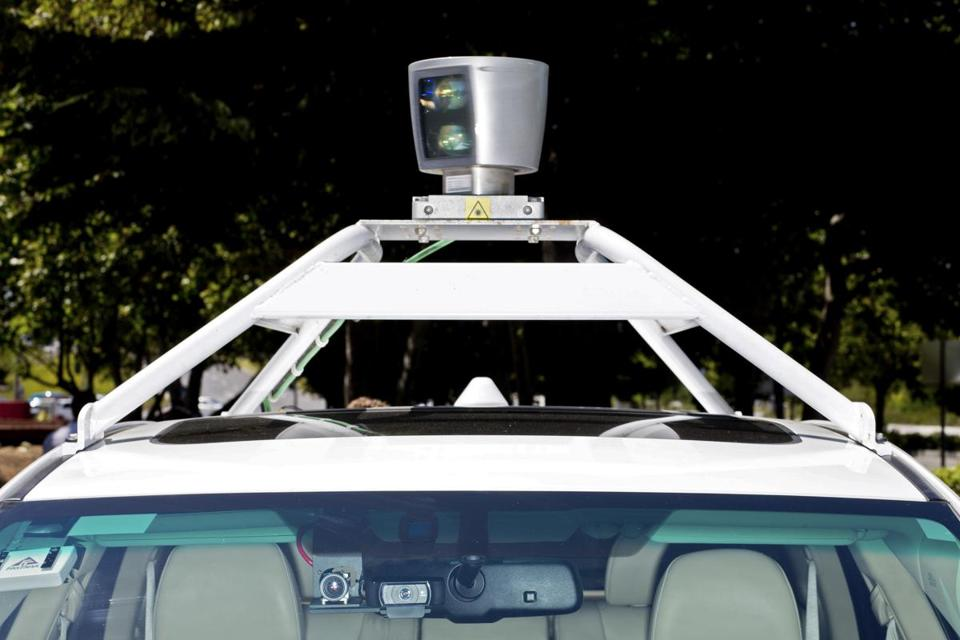 A roof-mounted camera on a Google self-driving car at the Computer History Museum in Mountain View, Calif.
