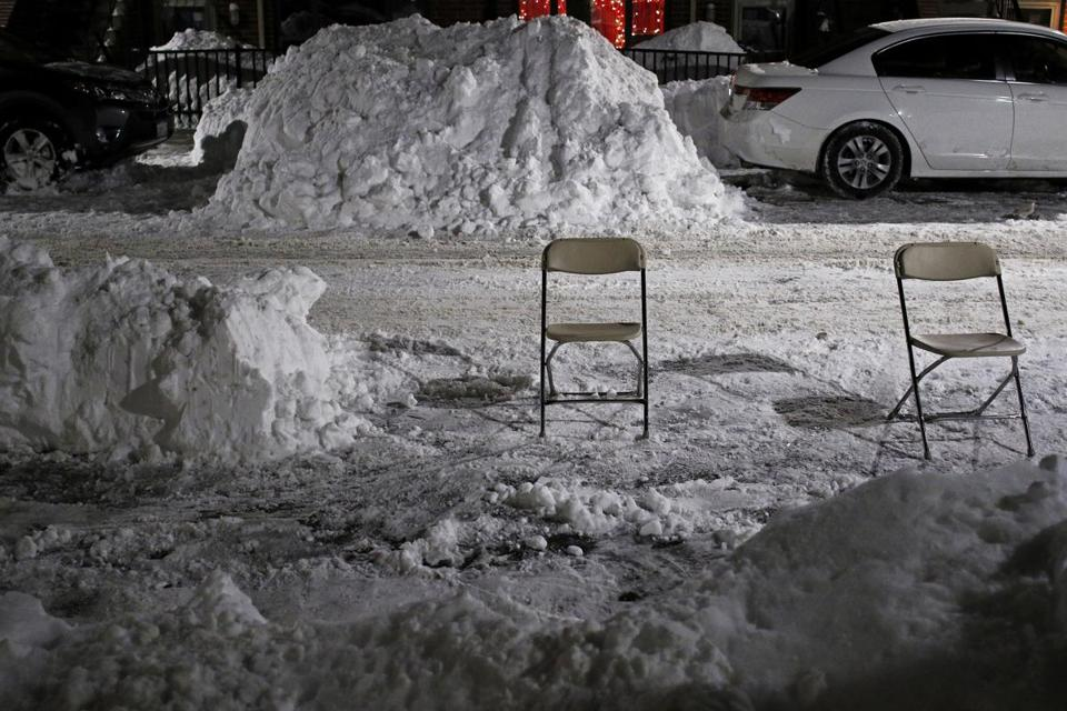 Space savers in the South End.