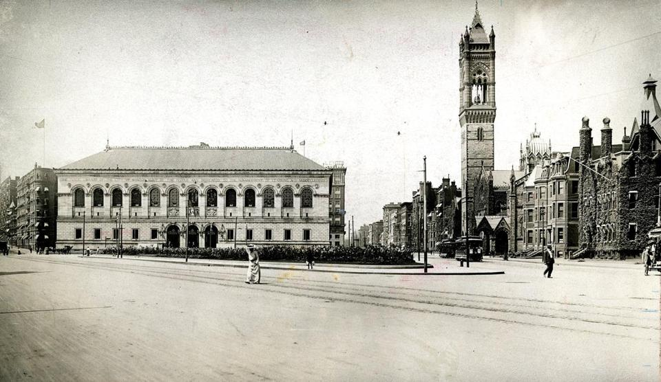 The 19th century was the era of filling the Back Bay, including Copley Square. The public library there opened its doors in early 1895.