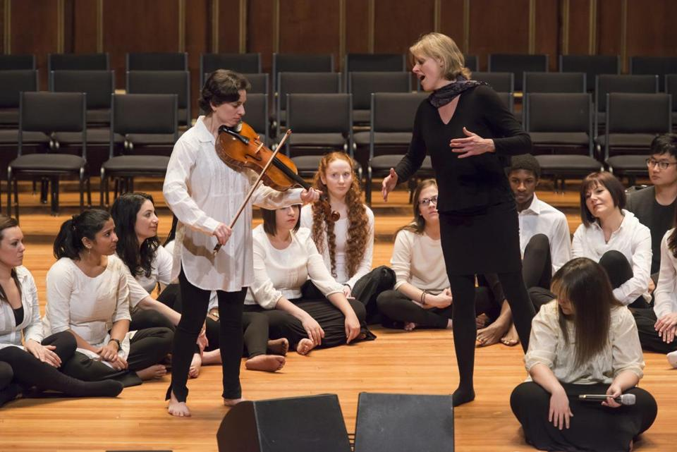"Violist-singer Eden MacAdam-Somer, soprano Cristi Catt, and the New England Conservatory's Contemporary Improvisation choir performing Hildegard von Bingen's ""The Order of the Virtues"" at Jordan Hall."