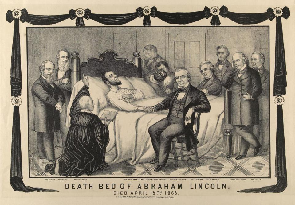 An engraving of the deathbed of Abraham Lincoln, by J. L. Magee, Philadelphia, 1865.