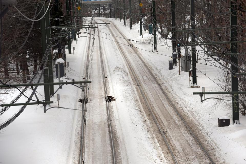 Blue Line tracks in East Boston saw plenty of snow over the weekend.