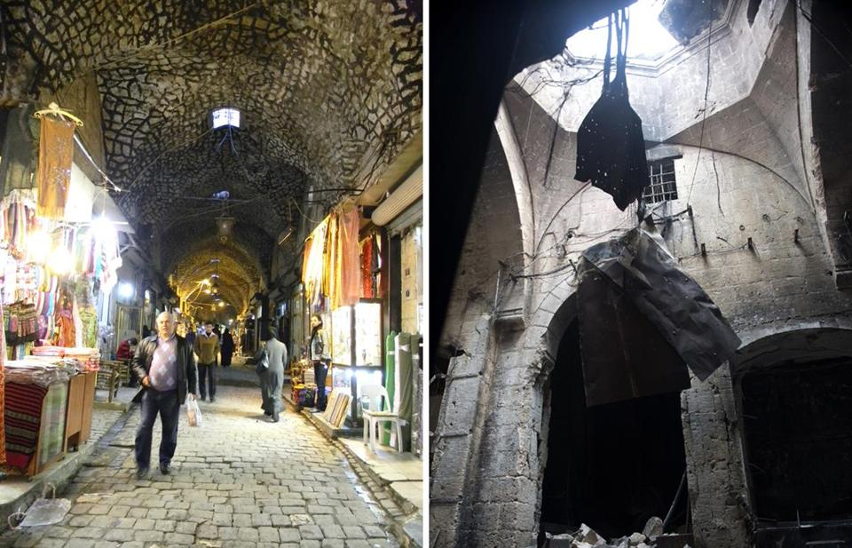 The souk in Aleppo, before and after its destruction in 2012.