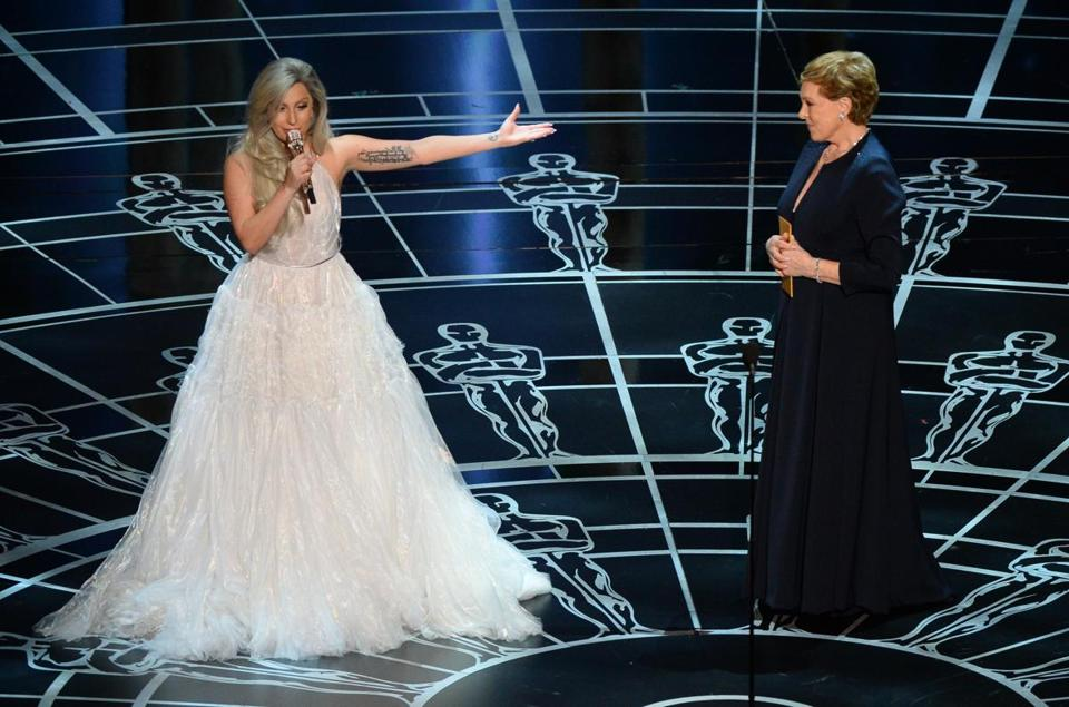 "Lady Gaga presented Julie Andrews after her ""Sound of Music"" medley at the 87th Academy Awards on Feb. 22."