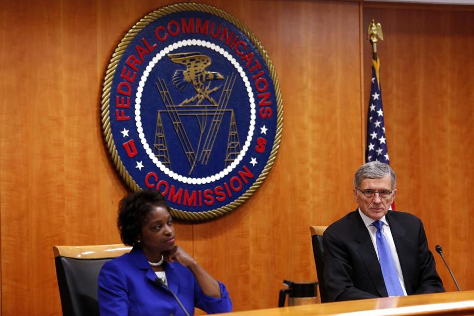 FCC Chairman Tom Wheeler (right) and Commissioner Mignon Clyburn attended a hearing on net neutrality in February.