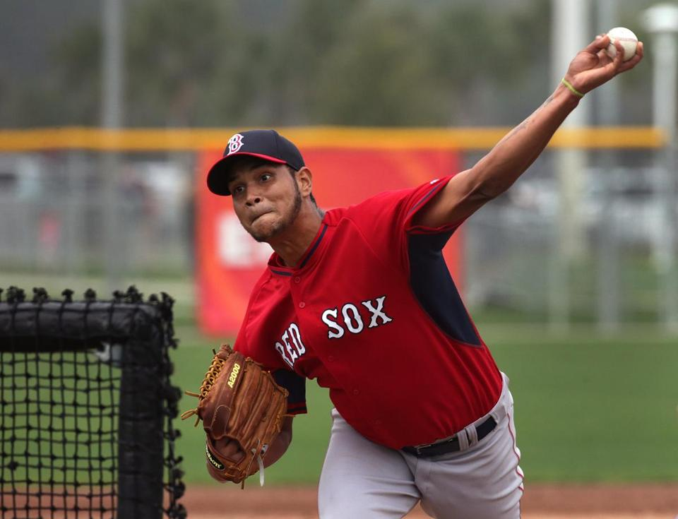 Fort Myers, FL - 02/26/15 - Boston Red Sox starting pitcher Eduardo Rodriguez (79) throwing live batting practice. Red Sox Spring Training. (Barry Chin/Globe Staff), Section: Sports, Reporter: Peter Abraham, Topic: 25Red Sox, LOID: 8.0.2826364469.