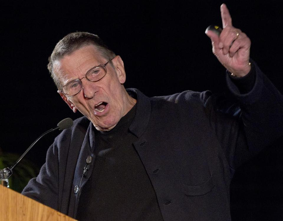 Leonard Nimoy gave a lecture to more than 1,000 people at Boston University in May 2011.