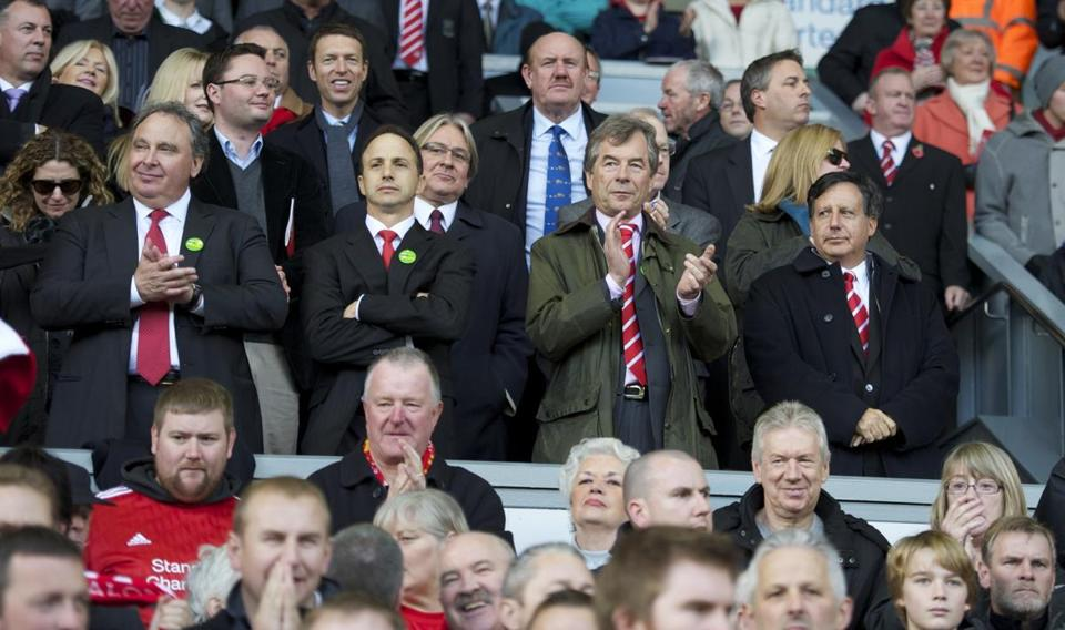 LIVERPOOL, ENGLAND - Sunday, October 24, 2010: Liverpool's new owners New England Sports Ventures vice chairman David Ginsberg, investor Michael Gordon, chairman Martin Broughton and co-owner and NESV Chairman Tom Werner during the Premiership match against Blackburn Rovers at Anfield. (David Rawcliffe/Propaganda)