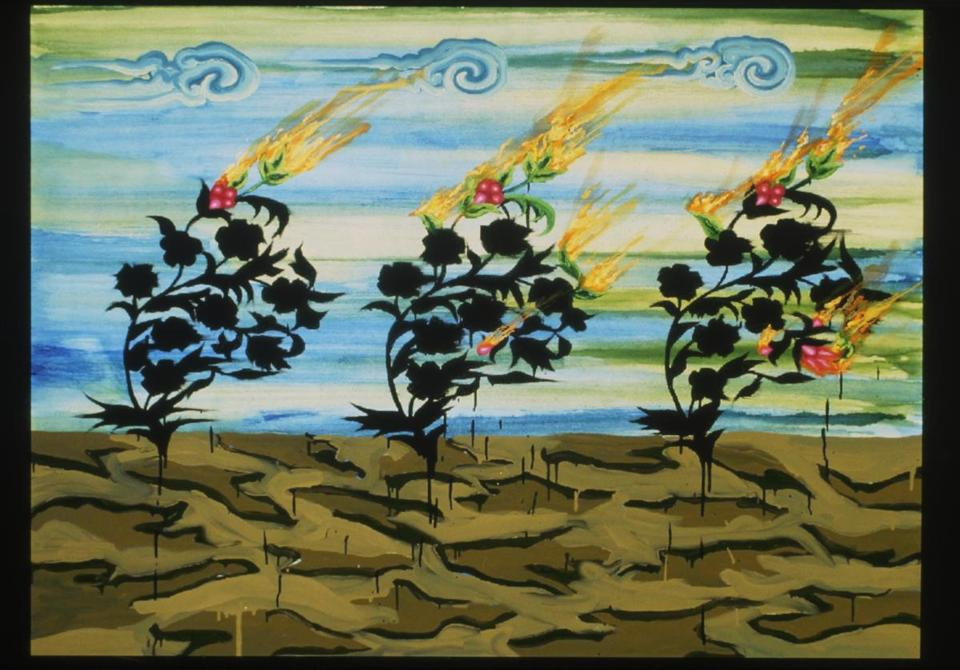 "03names - Kamrooz Aram, Untitled (Three Trees), 2004. Painting, 52 x 66"". Gift of Peter Norton. (handout)"