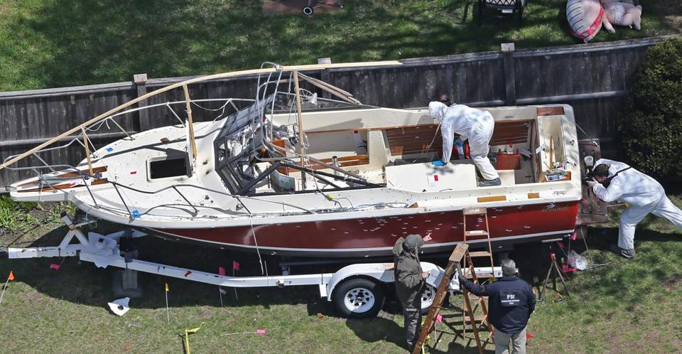 The boat where Dzhokhar Tsarnaev was found following a manhunt.