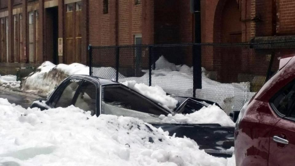 Warmer Weather Sends Snow Ice Crashing Into Cars The Boston Globe - 17 cars turned into art thanks to frosty winter weather