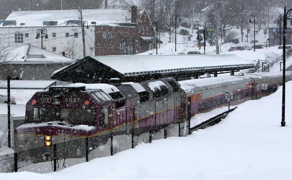 MBTA workers cleared a stuck commuter rail train from Weymouth Landing station last month.