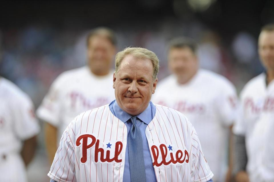 Curt Schilling, pictured being inducted to the Phillies Wall of Fame in 2013.