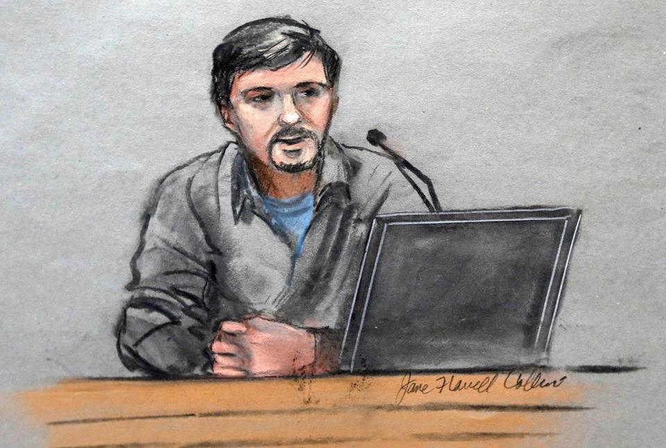 A courtroom sketch depicted Jeff Bauman during testimony Thursday.