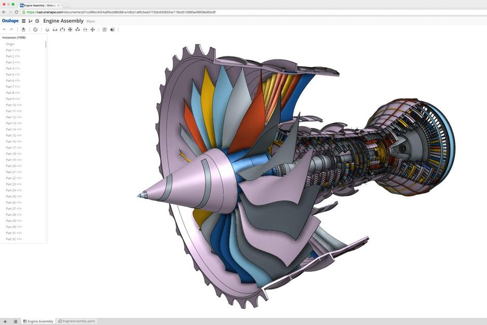 Onshape's software allows complex models to be viewed through a web browser.