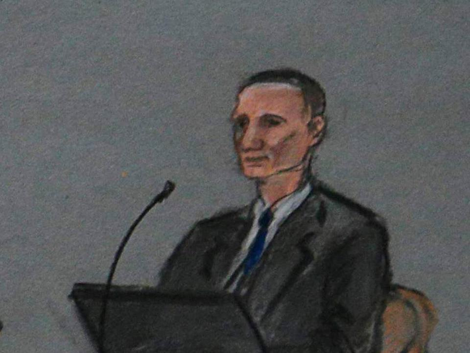 Bill Richard, depicted on the stand Thursday in federal court.