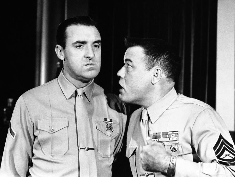 Jim Nabors, left., and Frank Sutton, in the TV series ?Gomer Pyle-USMC? in character in April 1964. . (AP Photo) -- 15dvdreview