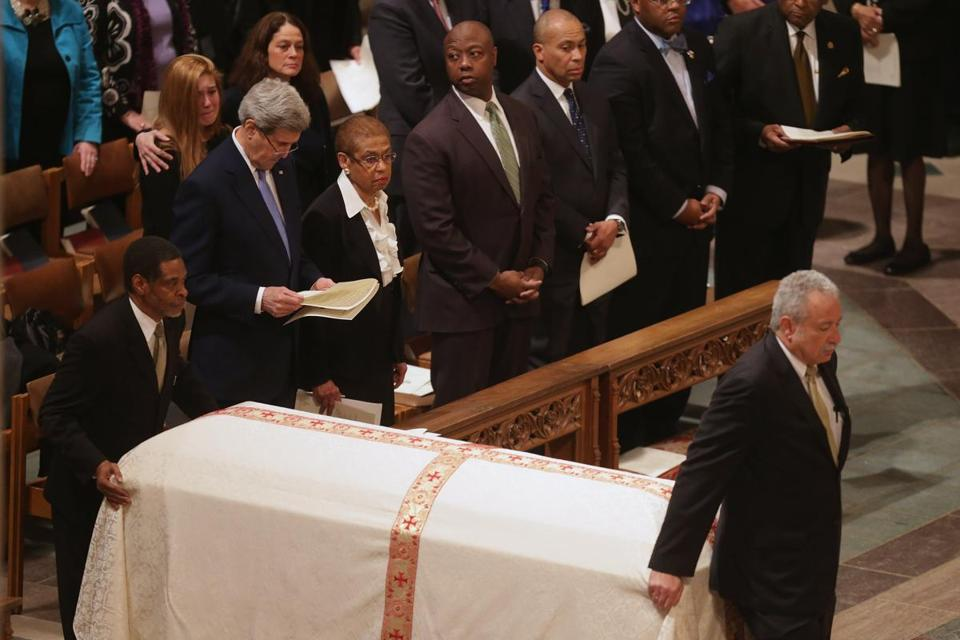 US Secretary of State John Kerry and former Massachusetts Governor Deval Patrick were among the attendees at the funeral for former Sen. Edward William Brooke at the Washington National Cathedral.