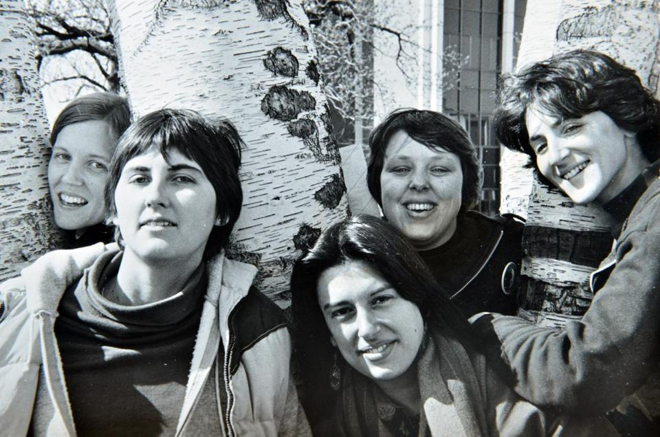 Marcia Deihl, center who was ridong a bicycle in Cambridge when struck by a dump truck, was a member of the New Harmony Sisterhood Band, in this undated photo, with bandmates, Katie Tolles, Kendal Hale Pat Oullette, and Deborah Silverstein.Courtesy Photo (Metro, Allen )